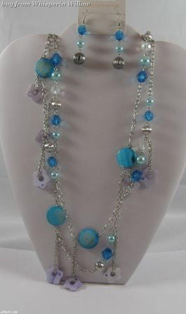 Primary image for Blue Bejeweled Necklace & Earrings Set