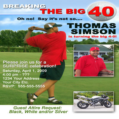 Primary image for Golf 40th Men's Sport Magazine Birthday Party Invitations