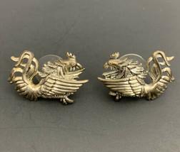 Phoenix Bird Fenghuang Pierced Earrings Vintage Signed MJ Silver Tone As... - $19.75