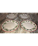 "Xmas Royal Norfolk Holly/Berries 10.5"" Dinner Formal Set Of 4 Plates-NEW... - $39.08"