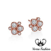 Women's Stud Earrings Sim Diamond 14k Rose Gold Plated 925 Pure Sterling... - $42.76