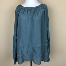 Ann Taylor Loft Women Large Semi Sheer Long Sleeve Teal Blue Blouse Mini... - $24.18