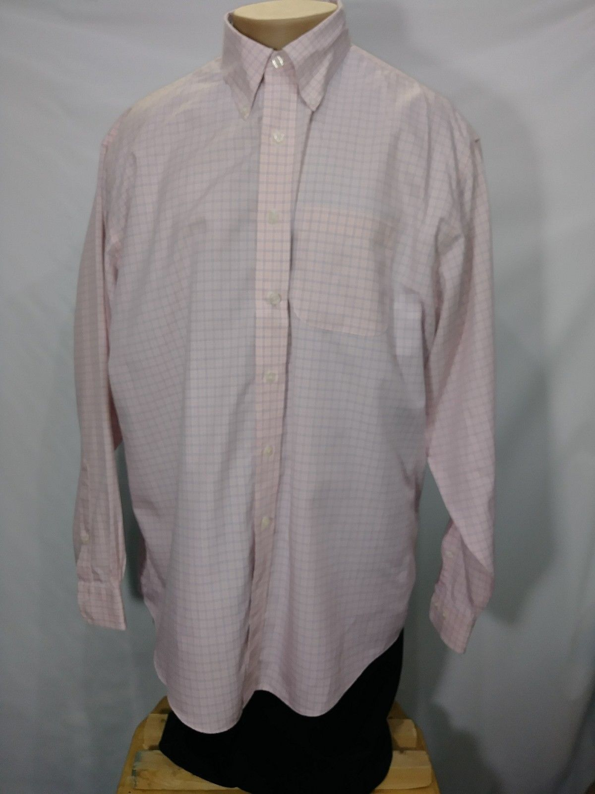 BROOKS BROTHERS PINK PLAID LONG SLEEVE SIZE 17 POLO XL 100% COTTON MALAYSIA