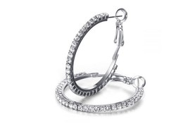 Mestige Rhodium Plated Silver Crystal Hoop Earring | SWAROVSKI ELEMENTS ... - $24.75