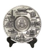 """Pewter Toned Washington D.C. Metal Souvenir Plate with Stand (6.5"""")- Was... - $19.99"""