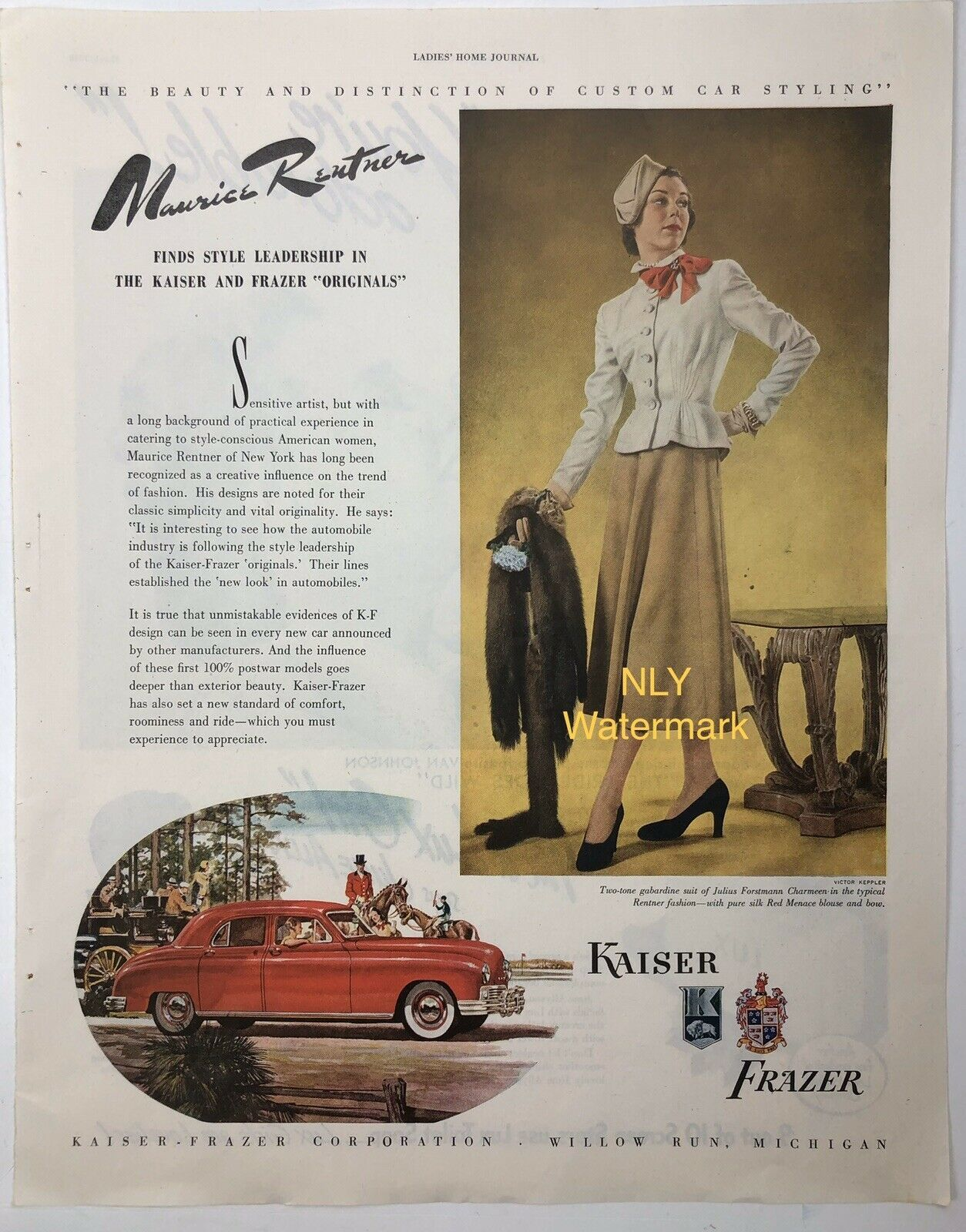 Primary image for Print Ad  Red Car 1948 Lady , Kaiser & Frazer