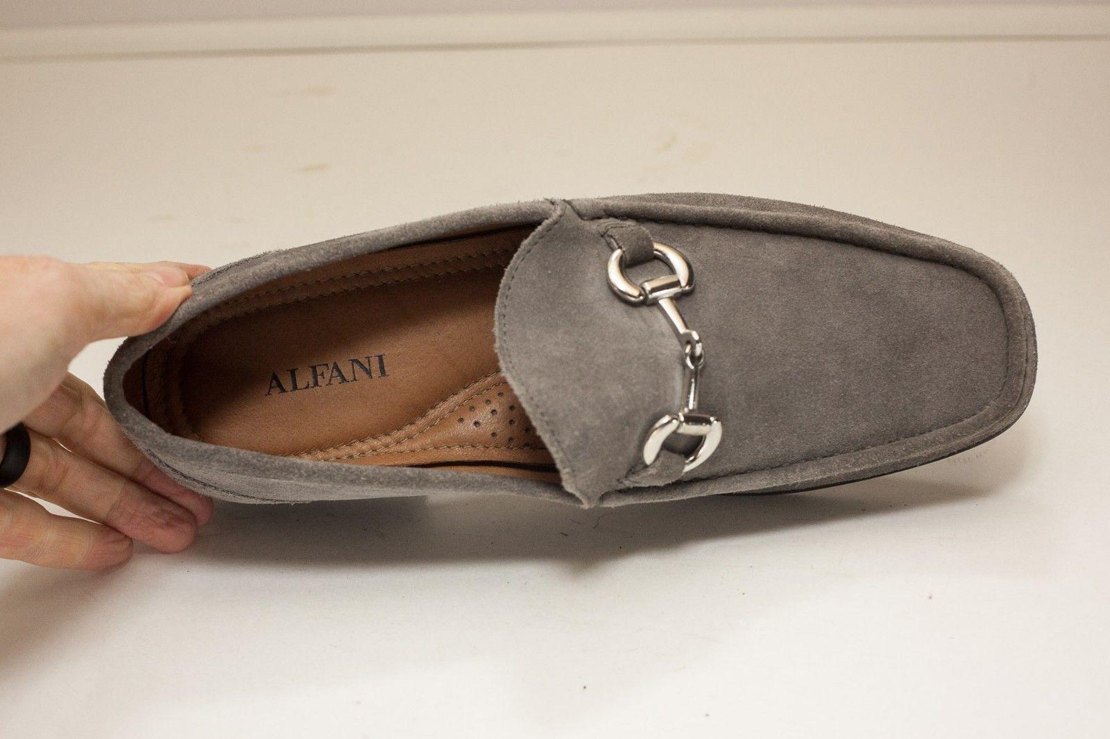 Alfani Size 8 Grey Horse Bit Loafers Men's Suede Dress Shoes