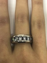 Vintage Real Blue Clear Austrian Crystal Eternity Wedding Band - $35.76