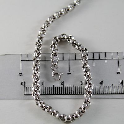 18K WHITE GOLD CHAIN 17.70 IN, BIG ROUND CIRCLE ROLO MESH, 4 MM MADE IN ITALY