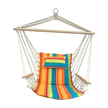 Patio Seating Furniture in Red Green and Blue Stripe Hanging Hammock Swi... - $42.26