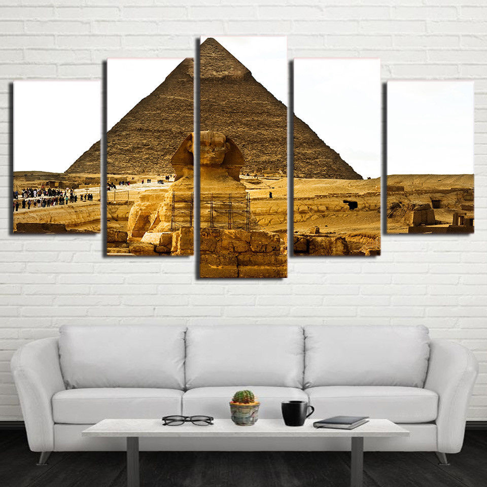 Large Framed Pyramids Ancient Egypt Canvas Wall Art Home Decor Five Piece