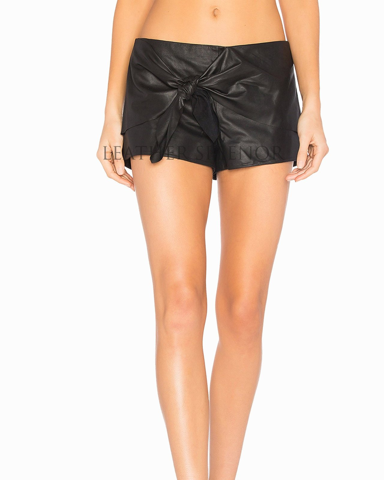 Tie Up Women Trendy Leather Shorts