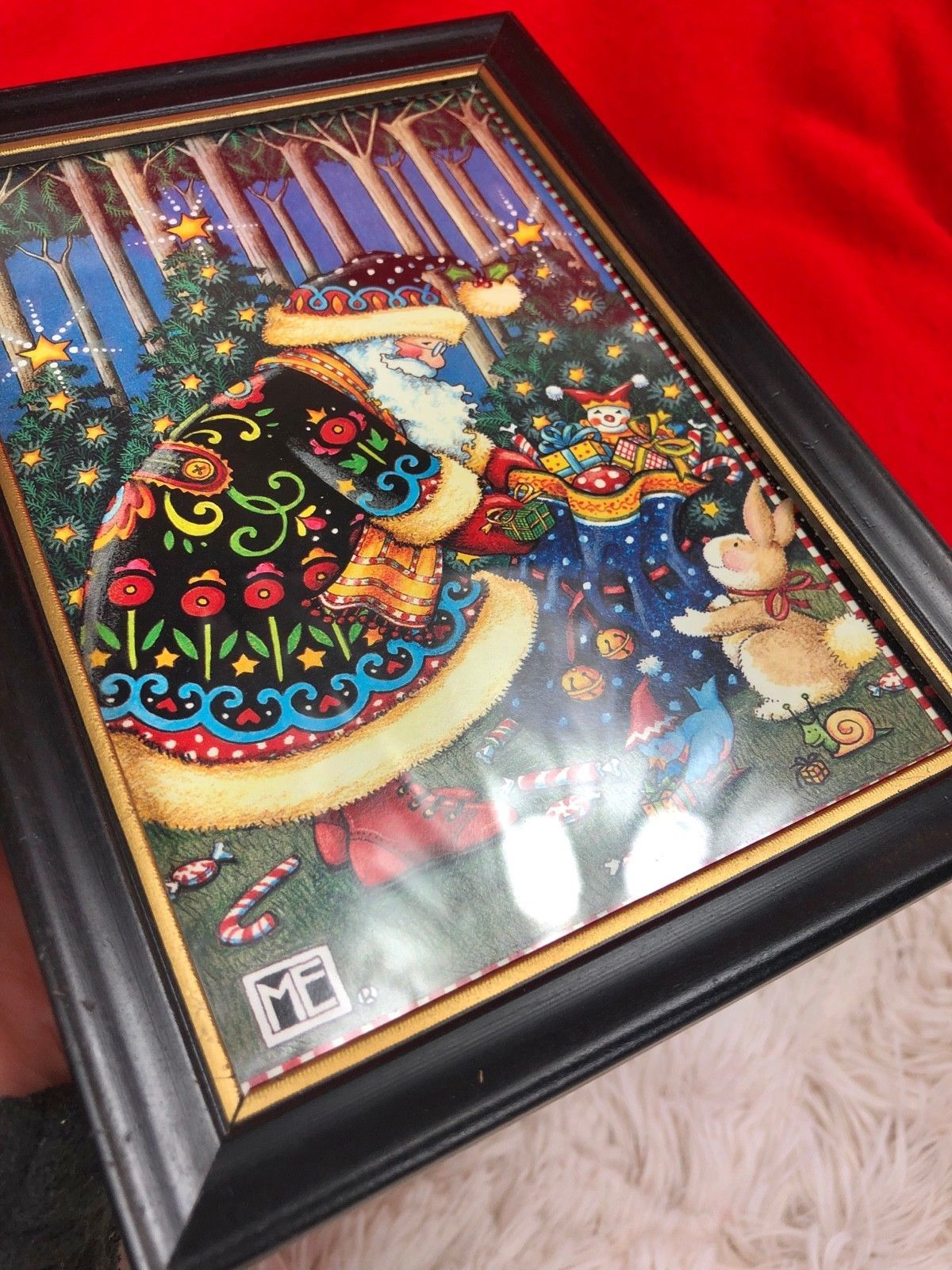 """MARY ENGELBREIT CHRISTMAS ME FRAMED PRINT PICTURE Santa w/ Toy Sack 7.5""""x5.5"""" image 4"""