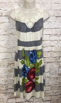 Lush Racerback Dress Lace Gray And Cream Stripes With Floral Print Women... - $19.34