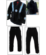 Men's New Native American Buckskin Black Western Suede Leather Shirt & P... - $199.00+