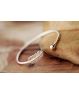 Bracelet Bangle - New Sterling Silver 925 Feather Design - Size Small - $24.00