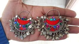 orange chandabali afghani earring kuchi hoops ethnic banjara earring chi... - $29.99