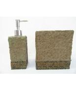 Croscill Florentine Stone Slate 2-PC Tissue Box Cover and Lotion/Soap Pump - $36.00