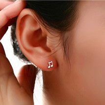 1 Pair Women Asymmetry Musical Notes Plated Ear Studs Earrings Jewelry - $7.99