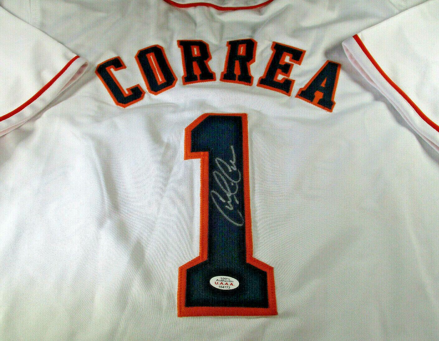 CARLOS CORREA / AUTOGRAPHED HOUSTON ASTROS WHITE CUSTOM BASEBALL JERSEY / COA