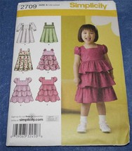 Sewing Pattern  *Simplicity 2709*  Toddler Dress with variations  UNCUT - $4.74