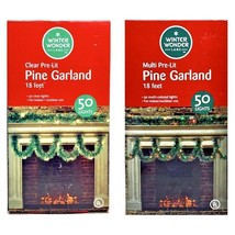 Garland Green Pine 50 Lights Christmas Winter Holiday Home Party Decorat... - $17.99