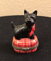 Black Scottish Terrier Porcelain Trinket Box, Limoges Copy Scottie Dog T... - $8.99