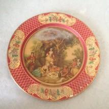 "Vintage Lancret Metal Plate 7.5"" Daher Decorated Ware Belgium Victorian - $10.64"