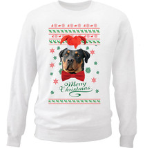 Merry Christmas Rottweiler - New White Cotton Sweatshirt - $33.08
