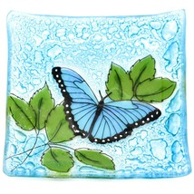 Fused Art Glass Blue Butterfly Design Square Soap Dish Handmade Ecuador