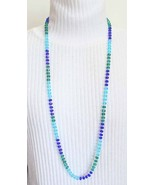 """Bohemian 90s Exquisite Knotted Cut Glass Necklace blue / green 40"""" - $29.95"""