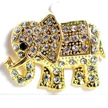 "Gold Tone Pave Crystal Elephant 1.5"" Pin Brooch New With Tags image 2"