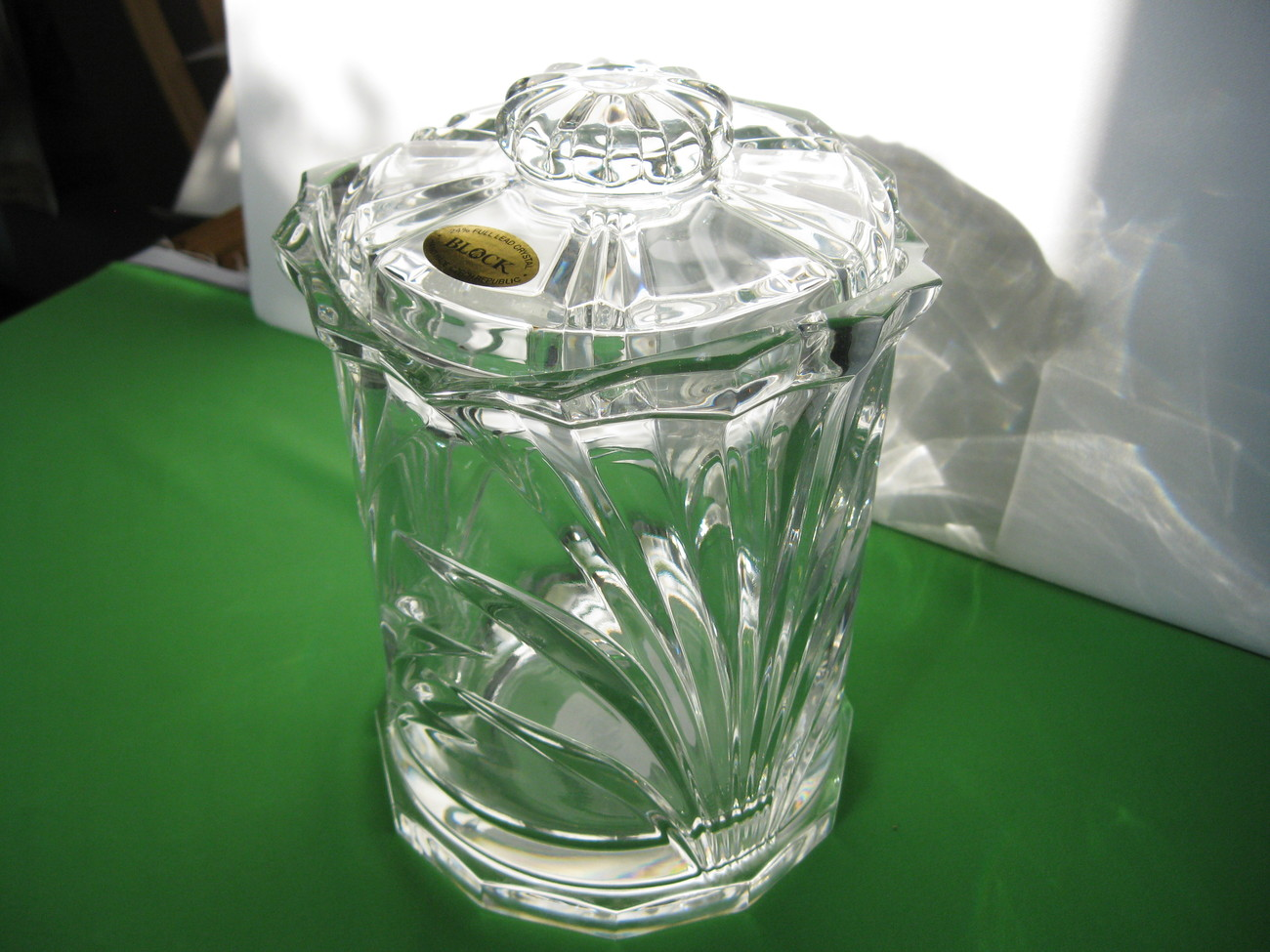 "Block Nassau Clear 8"" Biscuit Barrel Jar 24% Lead Crystal Made in Czech Republic"