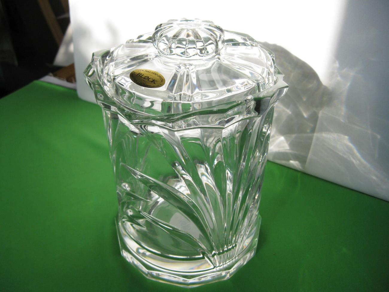 """Block Nassau Clear 8"""" Biscuit Barrel Jar 24% Lead Crystal Made in Czech Republic"""
