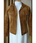 JIL SANDER Jacket Brown Suede Jean Jacket Style 38 - $289.00