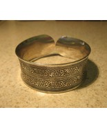 BRACELET SILVER PLATED WIDE CUFF CARVED SCROLL ... - $10.99