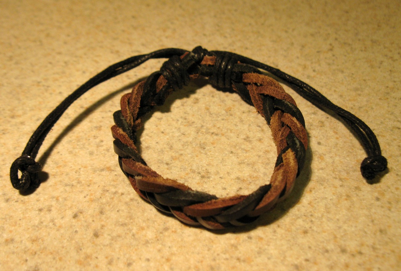 Primary image for BRACELET LEATHER UNISEX PUNK BROWN & BLACK BRAID DESIGN #316