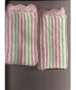 Toddler Girl Leg Warmers Hand Crocheted in Pink and Light Aqua  Toasty Warm - $3.75