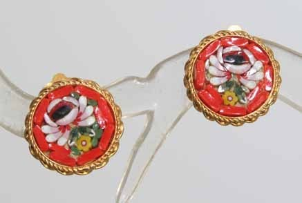 Primary image for Glass Mosaic Flower 60s Exquisite Earrings