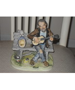 Vintage Lefton Man Playing A Guitar and Dog Begging Porcelain Figurine - $42.74