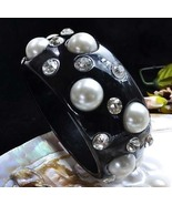 Bangle Bracelet in Black Lucite Large Pearls and Sparkling Clear Rhinsto... - $9.99