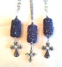 Purple, Crystals, Pendant, Antiqued Silver Tone... - $28.50