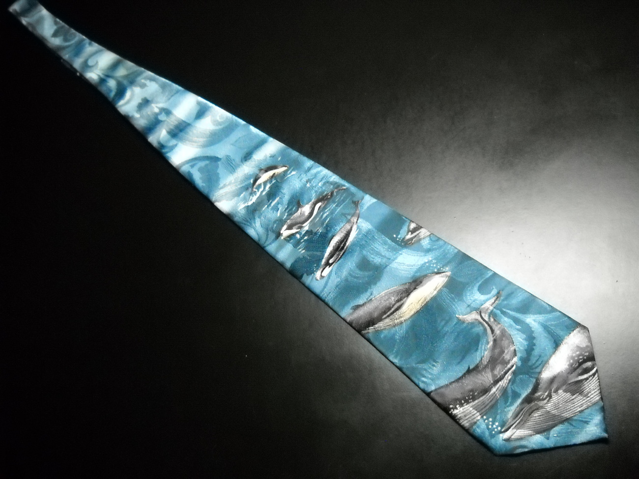 Reed St James Dress Polyester Neck Tie Pod Whales Capering Swirling Blues Ocean