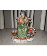 Vintage Lefton Woman Sitting On Bench With A Turkey Porcelain Figurine - $44.99
