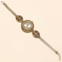 Real Black Spinal White Topaz Wrist Watch 925 Sterling Silver Two Tone J... - $41.37