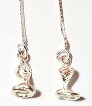 DANCING COBRA EAR THREADER EARRINGS 925 STERLING SILVER 3.5 INCHES LONG