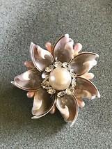 Vintage Handmade from Gray Seashells w Light Pink Beads & Clear Rhinesto... - $16.69