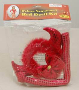 Costume Mates Deluxe Sequin Red Devil Horns Tail Bowtie
