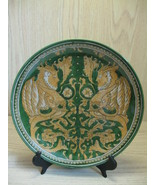 Collectible Charger Plate Dark Green Gold Men Angel Animal Design Shangh... - $12.95