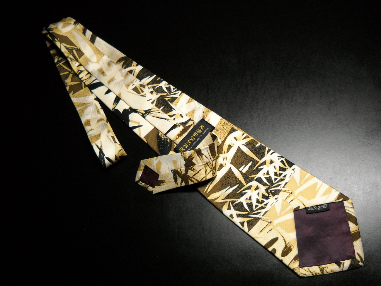National Museum of Korea Dress Silk Neck Tie Bamboo Forest in Browns and Golds